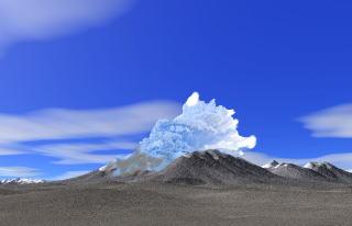 約4万年前の西ヌプカウシヌプリ噴火の想像図
