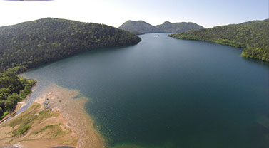 然別湖 空撮画像